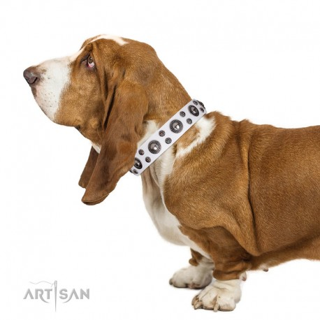 White Leather Dog Collar with Chrome-plated Decor - Pure Delicacy Handcrafted by Artisan""""