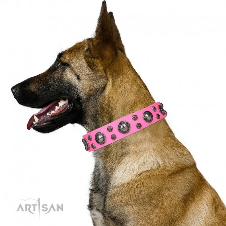 Pink Leather Dog Collar with Chrome-plated Decor - Round & Spicy Handcrafted by Artisan""""