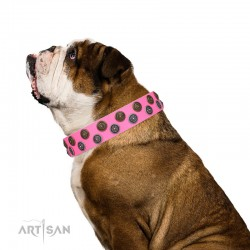 "Pink Leather Dog Collar with Brass and Chrome-plated Decor - Zesty Circles"" Handcrafted by Artisan"""