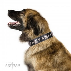 "Black Leather Dog Collar with Chrome-plated Decor - Unique Squares"" Handcrafted by Artisan"""