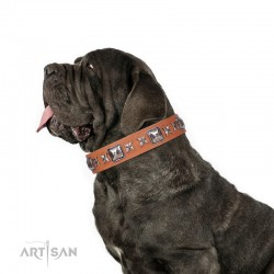 "Tan Leather Dog Collar with Chrome-plated Decor - Exceptional Squares"" Handcrafted by Artisan"""