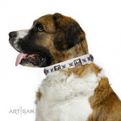 White Leather Dog Collar with Chrome-plated Decor - Elegant Squares Handcrafted by Artisan""""