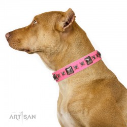 Pink Leather Dog Collar with Chrome-plated Decor - Fancy Squares Handcrafted by Artisan""""