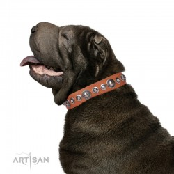"""Tan Leather Dog Collar - Splendid Shields"""" Handcrafted by Artisan"""""""