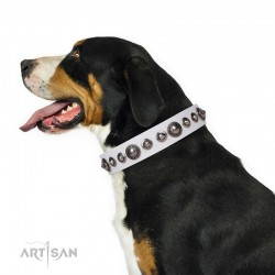 "White Leather Dog Collar with Chrome Plated Decor - Exquisite Shields"" Handcrafted by Artisan"""