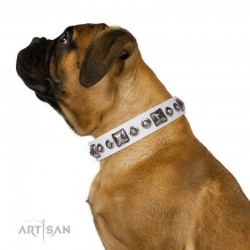 "Decorated White Leather Dog Collar - Delicacy & Refinement"" Handcrafted by Artisan"""