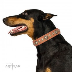 """Decorated Pink Leather Dog Collar - """"Delicacy & Refinement Handcrafted by Artisan"""