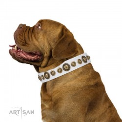 "Decorated Pink Leather Dog Collar - ""Delicacy & Refinement Handcrafted by Artisan"