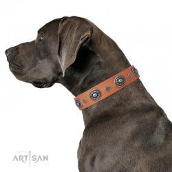 "Decorated Tan Leather Dog Collar - Ornamental Groove"" Handcrafted by Artisan"""