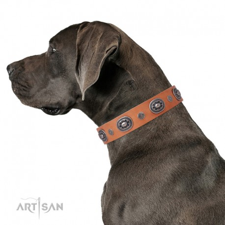 """Decorated Tan Leather Dog Collar - Ornamental Groove"""" Handcrafted by Artisan"""""""