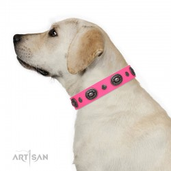 "Decorated Pink Leather Dog Collar - ""Ornamental Groove"" Handcrafted by Artisan"
