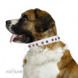 "Studded White Leather Dog Collar - ""Flourishing Beaute"" Handcrafted by Artisan"