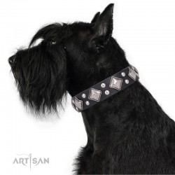 """Decorated Black Leather Dog Collar - Unconventional Allure"""" Handcrafted by Artisan"""""""