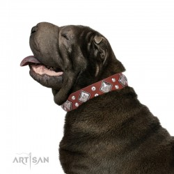 """Tan Leather Dog Collar with Chrome-plated Decor - Unconventional Allure"""" Handcrafted by Artisan"""""""