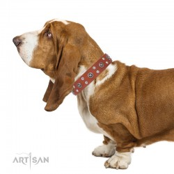 """Tan Leather Dog Collar with Chrome-plated Decor - Ultimate Gift"""" Handcrafted by Artisan"""""""