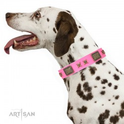 """Pink Leather Dog Collar with Brass Plated Decor - Old Bronze Style"""" Handcrafted by Artisan"""""""
