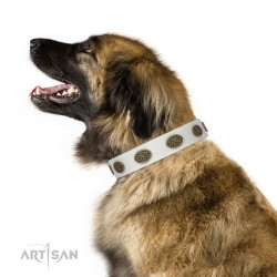 "Decorated White Leather Dog Collar  - ""Fancy Brooches"" Handcrafted by Artisan"""
