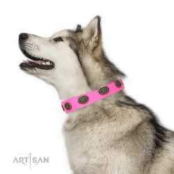 "Decorated Pink Leather Dog Collar  - Fancy Brooches"" Handcrafted by Artisan"""""