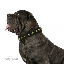 "Studded Black Leather Dog Collar - Diamonds & Squares""  Handcrafted by Artisan"""""