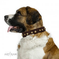 "Studded Brown Leather Dog Collar - Diamonds & Squares""  Handcrafted by Artisan"""""