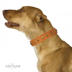 "Studded Tan Leather Dog Collar - Diamonds & Squares""  Handcrafted by Artisan"""""