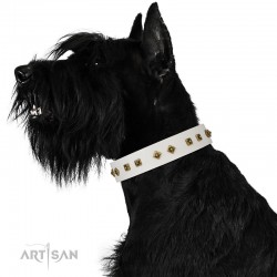 "Studded White Leather Dog Collar - Diamonds & Squares""  Handcrafted by Artisan"""""