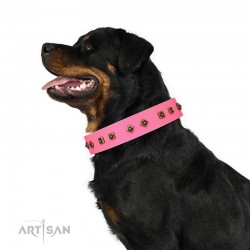 "Studded Pink Leather Dog Collar - Diamonds & Squares""  Handcrafted by Artisan"""""