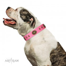 "Bright Pink Leather Dog Collar with Brass Decor - Vintage Chic"" Handcrafted by Artisan"""