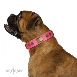"""Pink Leather Dog Collar with Brass Decor - Vintage Trimness"""" Handcrafted by Artisan"""""""