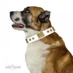 "White Leather Dog Collar with Plates - Strict & Confident"" Handcrafted by Artisan"""
