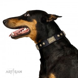 "Black Leather Dog Collar with Plates - Vintage Style"" Handcrafted by Artisan"""