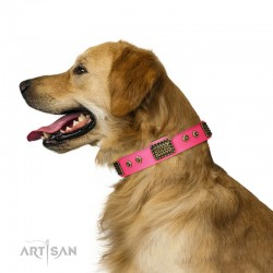 "Pink Leather Dog Collar with Plates - Vintage Style"" Handcrafted by Artisan"""