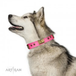 "Pink Leather Dog Collar with Brass Decor - Vintage Subtlety"" Handcrafted by Artisan"""