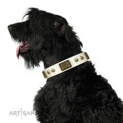 "Handmade White Leather Dog Collar - Plates'n'Skulls"" Decor by Artisan"""