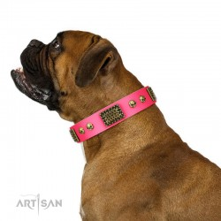 "Handmade Pink Leather Dog Collar - Plates'n'Skulls"" Decor by Artisan"""