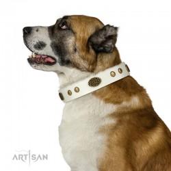 "Royal White Leather Dog Collar - ""Retro Flora"" Decor by Artisan"