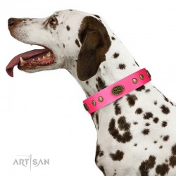 "Royal Pink Leather Dog Collar - Retro Flora"" Decor by Artisan"""