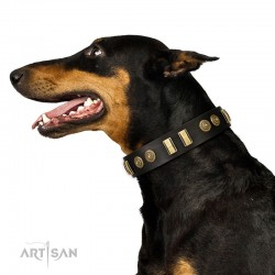 """Decorated Black Leather Dog Collar - """"Embossed Elegance"""" Brass Decor by Artisan"""