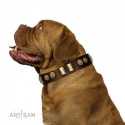 """Decorated brown Leather Dog Collar - """"Embossed Elegance"""" Brass Decor by Artisan"""