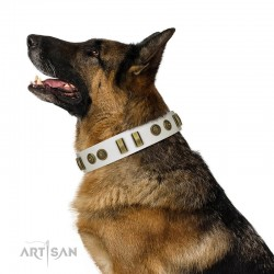 "Decorated White Leather Dog Collar - ""Embossed Elegance"" Brass Decor by Artisan"