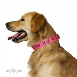 "Decorated Pink Leather Dog Collar - Embossed Elegance"" Brass Decor by Artisan"""
