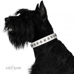 "Fabulous White Leather Dog Collar  - ""Starry Beauty"" Chrome Plated Decor by Artisan"