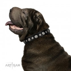 "Handmade Black Leather Dog Collar - ""Gorgeous Roundie"" Decor by Artisan (C326)"