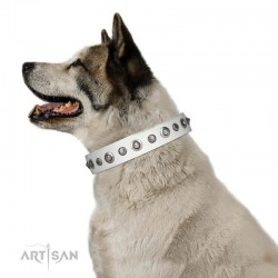 "Handmade White Leather Dog Collar - ""Gorgeous Roundie"" Decor by Artisan (C326)"