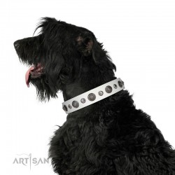 "Decorated White Leather Dog Collar - ""Vintage Elegance"" Chrome Plated Decor by Artisan"
