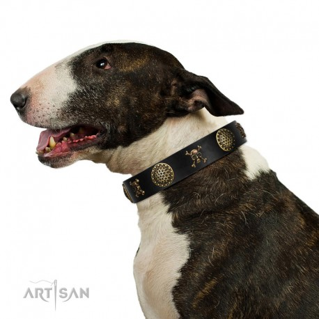 "Decorated Black Leather Dog Collar - ""Hip&Edgy"" Brass Decor by Artisan"