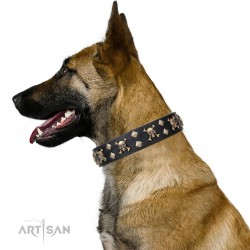 "Leather Dog Collar with Brass Decor - Jolly Roger"" Handcrafted by Artisan"""