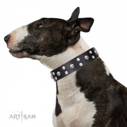 "Fancy Black Leather Dog Collar - ""Face the Skull"" Decor by Artisan"