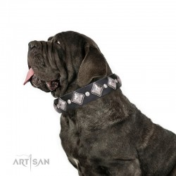 """Decorated Leather Dog Collar with Nickel Plated Decor - Medieval Beauty"""" Handcrafted by Artisan"""""""