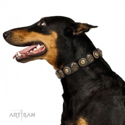 """Sea Rover"" FDT Artisan Black Leather Dog Collar with Old Bronze-plated Circular Medallions"